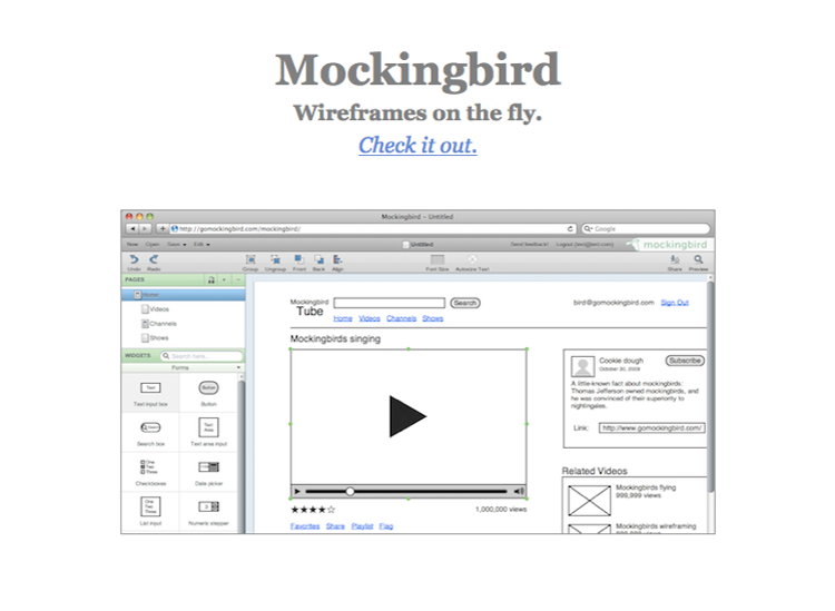 Website UI design tools: Mockingbird