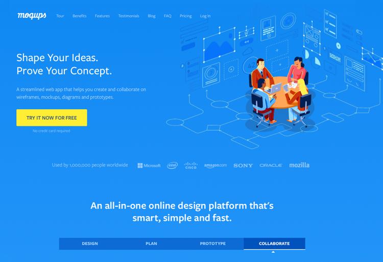 Website UI design tools: Moqups
