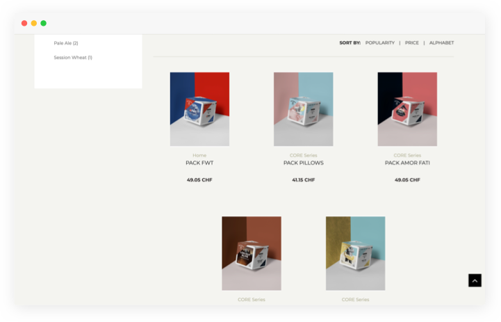 An example of card layout in the eCommerce design