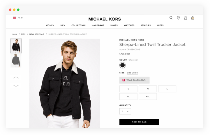 An example of the material design on the eCommerce store page